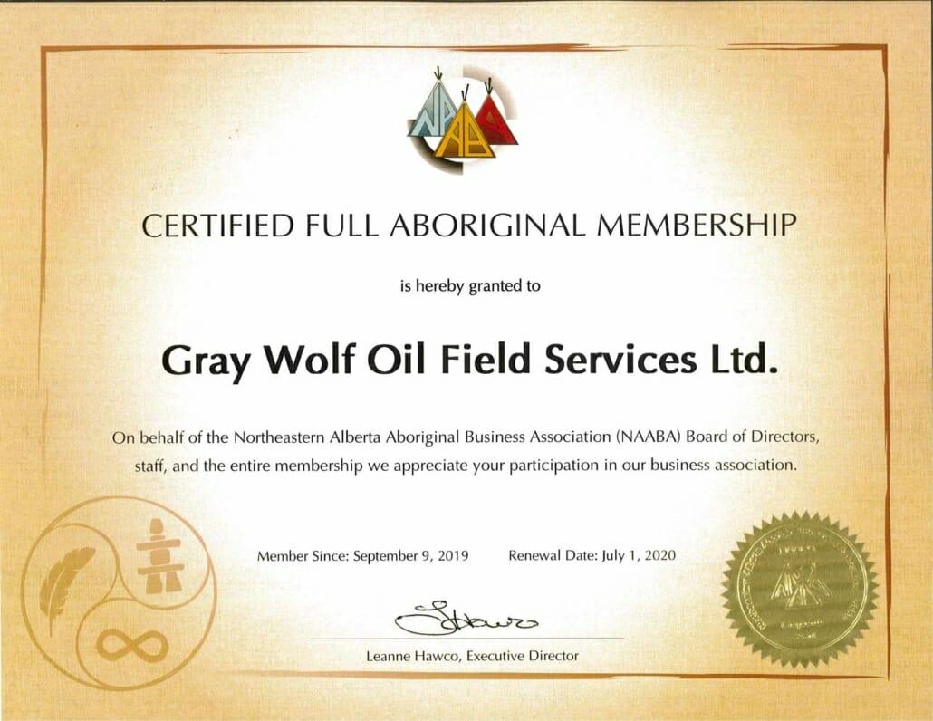 Certificate of Gray Buffalo's Certified Aboriginal Membership 2020